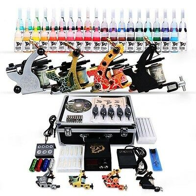 Komplett Set Tattoo Kit Gun 40 Inks 4 Tattoomaschine Griffe Netzgerät D139 DEU