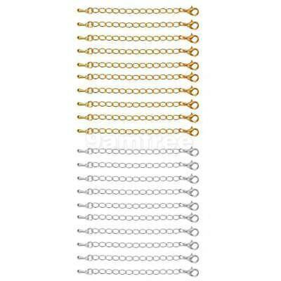 10 Packs of Gold/Silver Plated Necklace Extenders Jewelry Extension Chain 75 mm