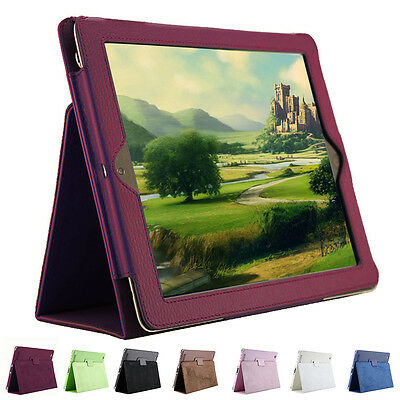Smart Luxury Wake/Sleep Flip Stand Protective Leather Case Cover For ipad 2/3/4