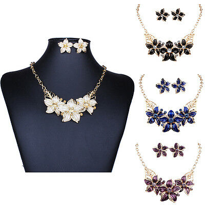 18K Gold Plated Fashion Party Flower Earring+Necklace Women Jewelry Sets Black