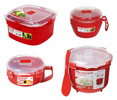 Sistema Microwave Rice Vegetable Noodle Steamer Bowl Porridge to Go in Red