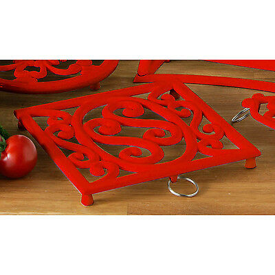 Red Cast Iron Square Heat Resistant Kitchen Dining Trivet Hot Pot Pan Stand Mat