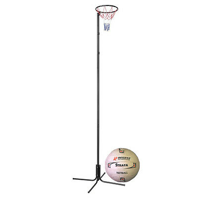 "NEW Regent Height Adjustable 15"" Ring  Netball Stand Set & Strata Size 5 Netball"