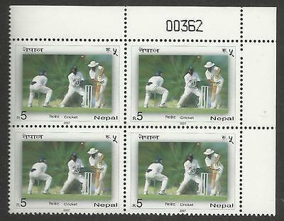 NEPAL 2007 CRICKET Single Value TOP RIGHT CORNER BLOCK MNH