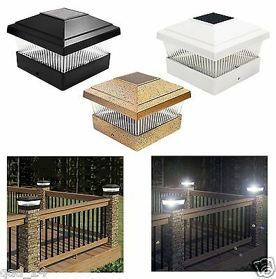 Outdoor Decking Post Solar Led Powered Light Garden Deck Cap Square Fence Lamp