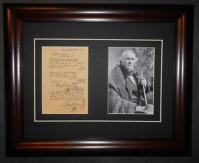 Sam Houston Republic of Texas Signed Document Indians Reprint Framed