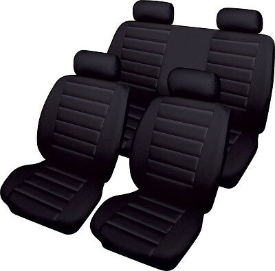 VOLKSWAGEN VW POLO Leatherlook Universal Full Set of Car Seat Covers in BLACK