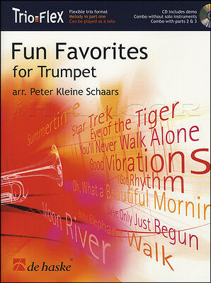 Fun Favorites for Trumpet Trio Solo Score Parts Sheet Music Book with CD