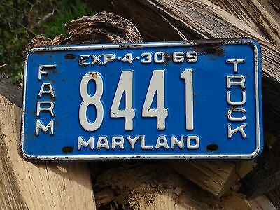1969  MARYLAND FARM TRUCK LICENSE PLATE Single # 8441