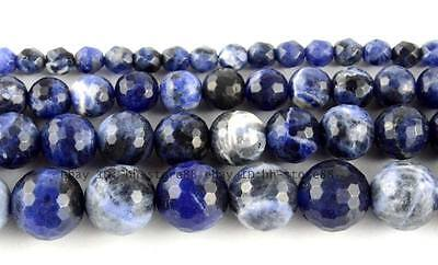 4、6、8、10mm Round Faceted Natural Sodalite Loose Beads 15''