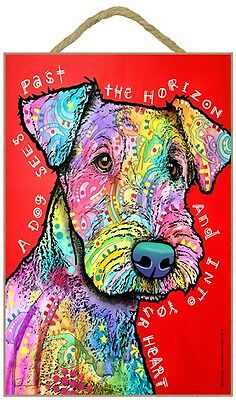 Airedale Sign – A Dog Sees Past the Horizon and Into Your Heart 7 x 10.5