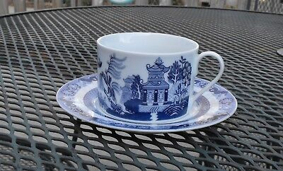 Blue Willow  Bristol House  China Flat Cup and Saucer Set