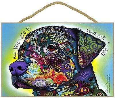 Rottweiler Sign – All You Need is Love & a Dog 7 x 10.5