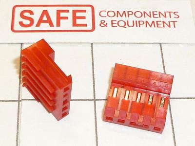 3-640440-5 AMP TYCO MTA-100 Connector RED 5-Pin Plug Female Straight QTY-2 D54