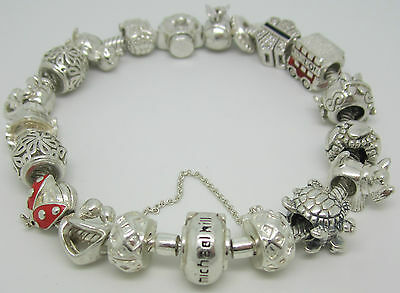 Michael Hill 925 Sterling Silver European Style Charm Bracelet With 18 Charms