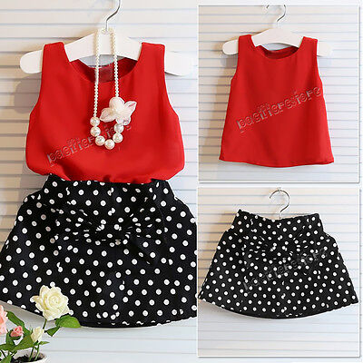 Chiffon Girls Baby Kids Top T-Shirt+ Skirt Dress Summer Outfits Clothes Age 1-6Y