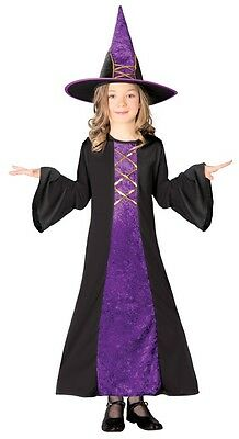 Girls Long Purple Witch Halloween Velvet Fancy Dress Costume Outfit 5-12 years