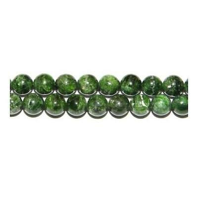 Packet of 5 x Green Chrome Diopside 6mm Plain Round Beads Y02275