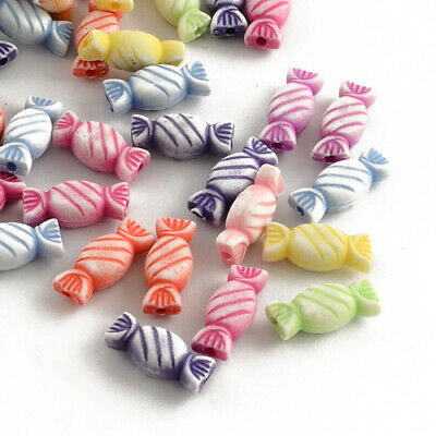Acrylic Candy Beads 7 x 15mm Mixed 60+ Pcs Art Hobby DIY Jewellery Making Crafts
