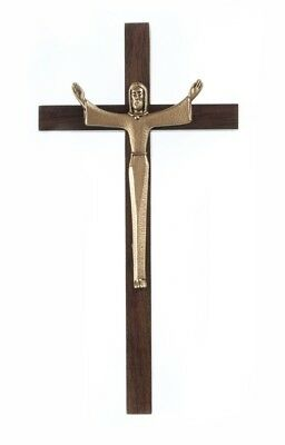 Walnut Wood Cross Crucifix with Gold Toned Pewter Risen Christ Corpus, 7 Inch