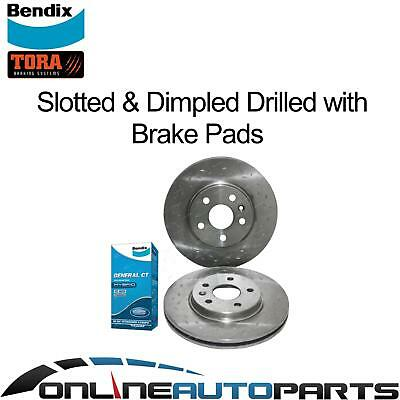 Front Disc Rotors Slotted & Dimpled + Bendix GCT Brake Pads Cruze JG JH 2009-14