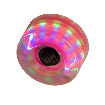 Clear / Grey Flashing Light Up Roller Skate Wheels - Pack of 4 + Instructions