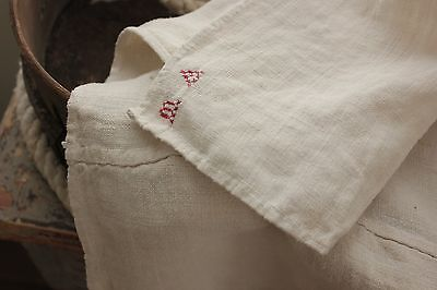 Antique French Primitive Rustic cloth old early linen towel