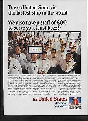 United States Lines 1966 Ss United States Fastest Ship Wit H800 Staff Ad
