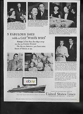 United States Lines Ss United States 5 Days A Gay Who's Who 1953 Ad