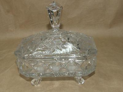 VTG Brilliant Pressed Glass Diamond Pinwheel Hobstar Footed Candy Dish w/ SPIRE