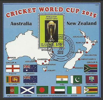 ST VINCENT 2015 CRICKET WORLD CUP FLAGS MAP Souvenir Sheet FINE USED CTO