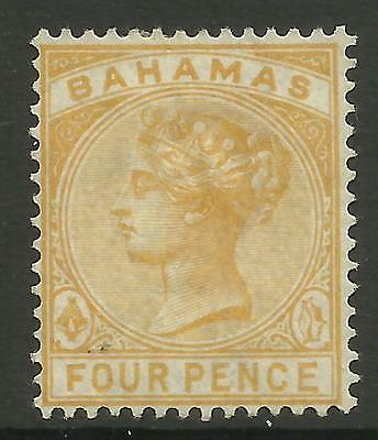 BAHAMAS 1884 4d QUEEN VICTORIA YELLOW MINT NO GUM