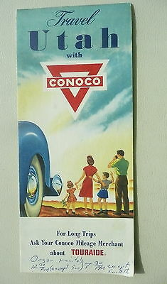 1954 Utah  road map Conoco oil gas stations shown
