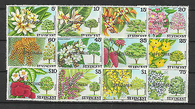 ST VINCENT 1984 FLOWERS TREES SHRUBS SPECIMEN OPT 12v MNH
