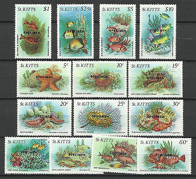 ST KITTS 1984 MARINE LIFE FISH SPECIMEN OPT 14v MNH