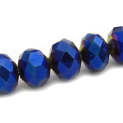 72 FACETTIERTE GLASPERLEN 8x6mm RONDELLE blau metallic Perlen nenad-design