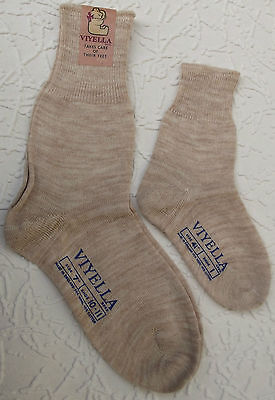 Childrens short socks Vintage 1960s VIYELLA boy girl baby BEIGE Hollins UNUSED