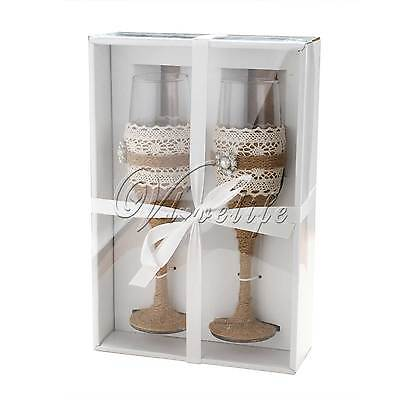 Burlap Rustic Wedding Toasting Glasses Cake Server Set Stainless Steel Gift box