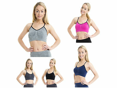 Ladies Girls Dance Gym Sports Racer Running Exercise Back Crop Top - Pink F424