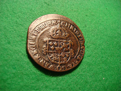 1650 Sweden Huge 17th century Copper 1 Ore Crown Sized  KM#162.2  C188