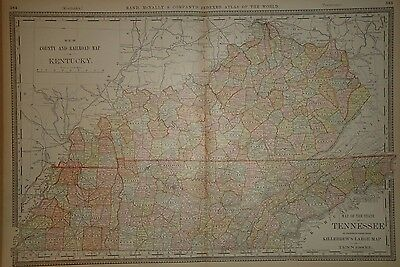 Vintage 1882 Kentucky & Tennessee Map Old Antique Original Atlas Map 82/051516