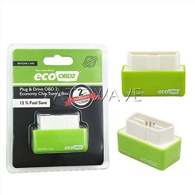 Universal Plug&Drive Eco OBD2 Performance Chip Tuning Box For Petrol Cars Green