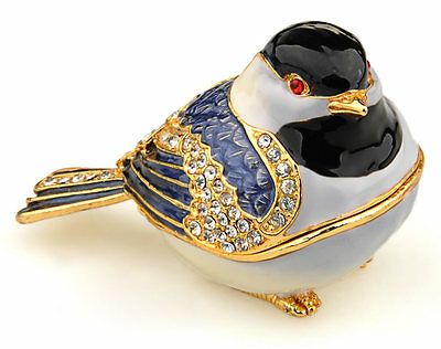 Chickadee Bird Enamelled Treasures Trinket Box with Necklace