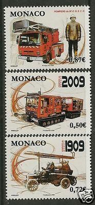 MONACO 2009 FIRE SERVICE FIRE ENGINES 3v MNH