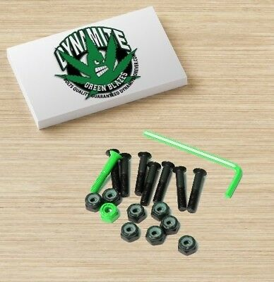 "Dynamite Forever Bolts 1"" Inch Green Blazes Skateboard Hardware New FREE POST"