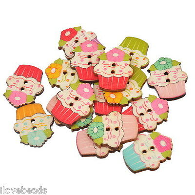 30x Cartoon Cupcake Shaped Craft Wood Buttons 2 Holes Sewing Scrapbooking