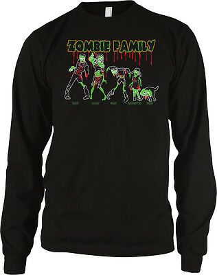 Zombie Family Mom Dad Kids Dog Death Undead Funny Long Sleeve Thermal