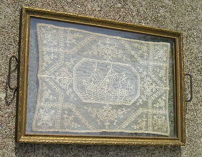 Antique Art Crafts Art Nouveau Piicture Frame Old Ship Doily between Glass
