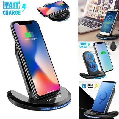 Fast Qi Wireless Charger Charging Pad for Samsung Galaxy Note 8 S9 S8 iPhone X 8
