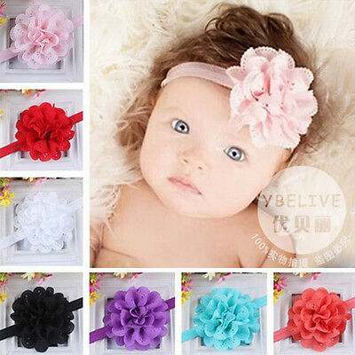 Kids Girl Baby Headband Toddler Infant Lace Bow Flower Hair Band Accessories